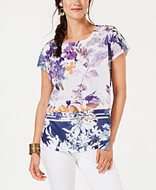 Style & Co Floral-Print T-Shirt, Created for Macy's