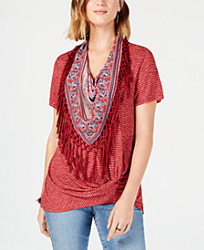Style & Co Fringed-Scarf Faux-Knot Top, Created for Macy's