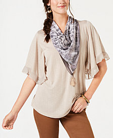 Style & Co Ruffled Scarf Top, Created for Macy's