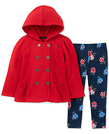 Tommy Hilfiger Baby Girls 2-Pc. Fleece Hooded Jacket & Printed Leggings Set