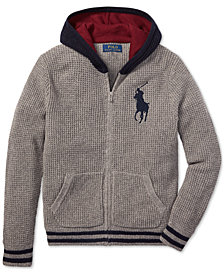 Polo Ralph Lauren Big Boys Waffle-Knit Hooded Sweater