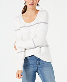 Style & Co Mixed-Knit Metallic-Striped Sweater, Created for Macy's