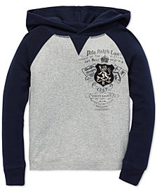 Polo Ralph Lauren Big Boys Waffle-Knit Graphic Cotton Hoodie