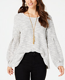 Style & Co Bishop-Sleeve Sweater, Created for Macy's