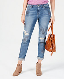 Style & Co Embellished Distressed Boyfriend Jeans, Created for Macy's