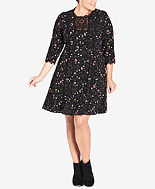 City Chic Floral-Print Lace-Trimmed Retro Dress