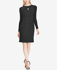 Lauren Ralph Lauren Petite Sequin-Yoke Jersey Dress, Created for Macy's