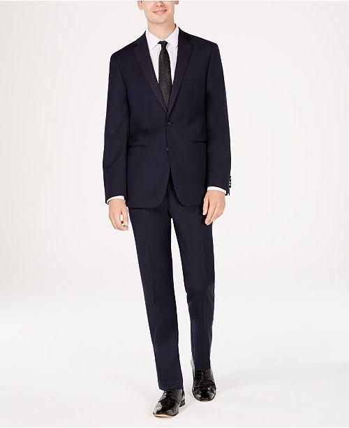 Calvin Klein Men's Slim-Fit Navy Twill Wool Tuxedo