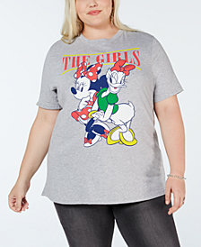 Mad Engine Juniors' Plus Size Minnie & Daisy Graphic-Print T-Shirt