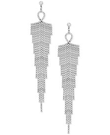 GUESS Silver-Tone Crystal Rhinestone Chandelier Earrings
