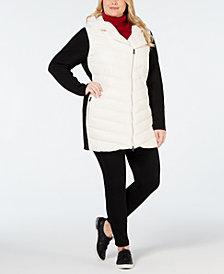 Calvin Klein Performance Plus Size Colorblocked Hooded Walker Jacket