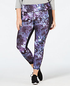 Ideology Plus Size Printed-Front Mesh-Trimmed Cropped Leggings, Created for Macy's