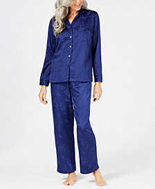 Miss Elaine Brushed-Back Satin Pajama Set