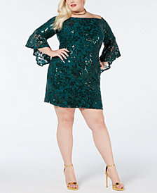 Morgan & Company Plus Size Embroidered Sequin Lace Dress