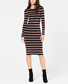 MICHAEL Michael Kors Metallic Striped Midi Sweater Dress, in Regular and Petite Sizes