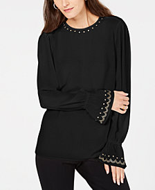 MICHAEL Michael Kors Studded Bell-Sleeve Top