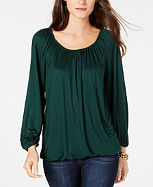 MICHAEL Michael Kors Scoop-Neck Peasant Top, Created for Macy's, in Regular and Petite Sizes