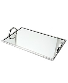 Small Rectangular Mirrored Tray with Chrome Edging and Handles