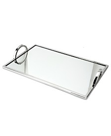 Classic Touch Small Rectangular Mirrored Tray with Chrome Edging and Handles