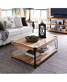 Ryegate Natural Live Edge Solid Wood With Metal Large Coffee Table