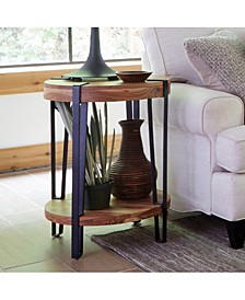 Ryegate Natural Live Edge Solid Wood With Metal Round End Table