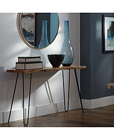 """Hairpin Natural Live Edge Wood With Metal 48"""" Media Console Table"""