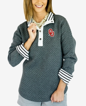 Women's Oklahoma Sooners Snap Quilted Pullover