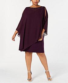 SL Fashions Plus Size Caped Sheath Dress