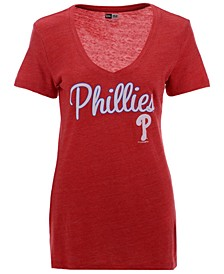 Women's Philadelphia Phillies Tri-Blend V-Neck T-Shirt
