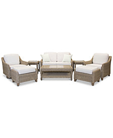 Willough Outdoor 8-Pc. Set (1 Loveseat, 1 Swivel Glider, 1 Club Chair, 1 Coffee Table, 2 Ottomans & 2 End Tables), Created for Macy's