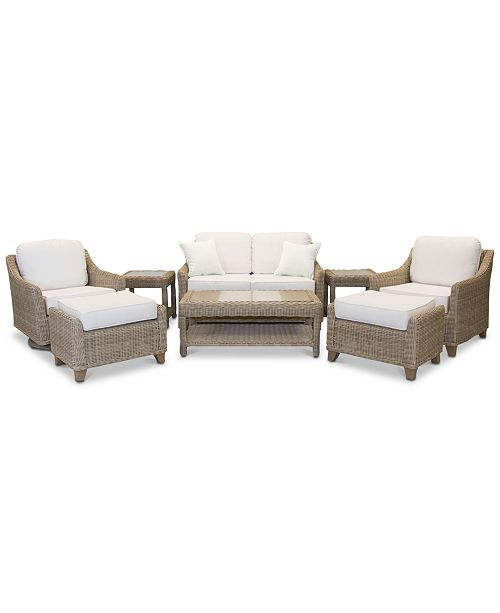 Furniture Willough Outdoor 8-Pc. Set (1 Loveseat, 1 Swivel Glider, 1 Club Chair, 1 Coffee Table, 2 Ottomans & 2 End Tables), Created for Macy's