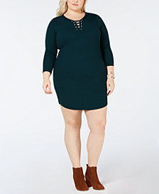 Planet Gold Plus Size Lace-Up Sweater Dress