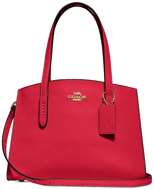 ea93f60fb66 COACH Charlie 28 Carryall in Pebble Leather - Handbags   Accessories -  Macy s