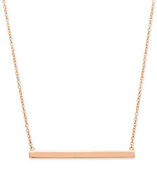 "Giani Bernini Horizontal Bar 16"" Pendant Necklace in 18k Rose Gold-Plated Sterling Silver, Created for Macy's"