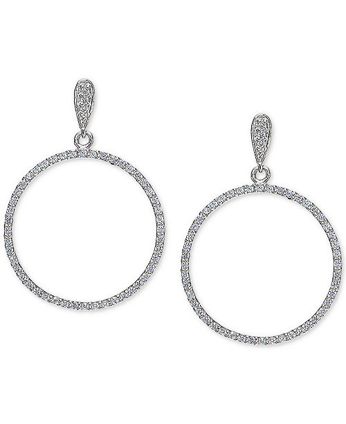 Giani Bernini Cubic Zirconia Circle Drop Earrings Set in Sterling Silver, Created for Macy's