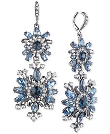 Givenchy Hematite-Tone Blue Crystal Double Drop Earrings