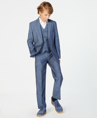 Big Boys Plain-Weave Suit Jacket