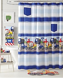 Dream Factory Trains and Trucks Shower Curtain