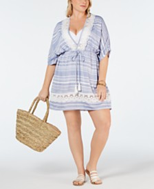Dotti Plus Size Crochet Tassel-Tie Cover-Up