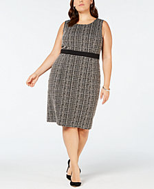 Kasper Plus Size Tweed Sheath Dress