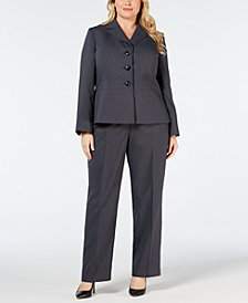 Le Suit Plus Size Notch-Collar Pantsuit