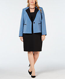 Le Suit Plus Size Contrast-Collar Skirt Suit