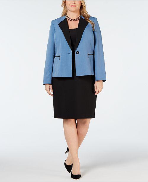 Le Suit Plus Size Contrast-Collar Skirt Suit