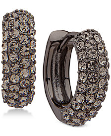 Lauren Ralph Lauren Hematite-Tone Pavé Huggie Hoop Earrings
