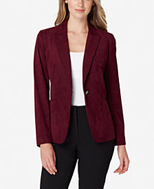 Tahari ASL Single-Button Faux-Suede Jacket