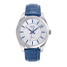 Men's ESQ0152 Stainless Steel Watch with Silver/Blue Dial and Crystal Accents