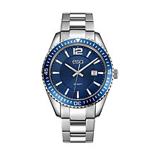 Men's ESQ0160 Stainless Steel Bracelet Watch with Date Window, Blue Dial