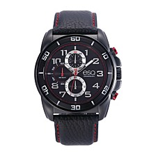 Men's Black IP Stainless Steel Chronograph Watch, Matching Leather Strap