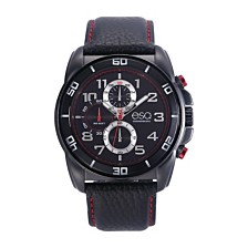 Men's ESQ0210 Black IP Stainless Steel Chronograph Watch, Matching Leather Strap