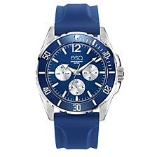 Men's Multi-Function Stainless Steel Watch, Blue Dial, Silicone Strap